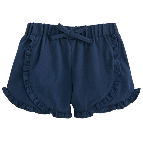 Mud Pie Girls Twill Ruffle Shorts - Navy