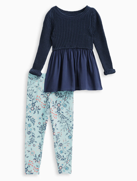 Splendid Navy Allover Print Sweater Set (sz 2T-6X)