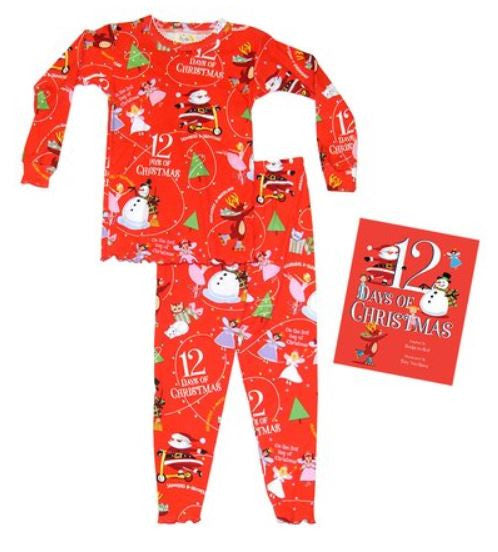 Girls 12 Days of Christmas Pajamas & Book Set sz 12mo-7