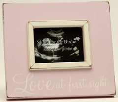 Pink Love at First Site Sonogram/Photo Wooden Frame