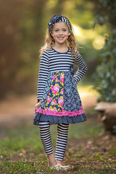 Serendipity Midnight Blossom Party Dress & Legging Set (sz 6m-6)