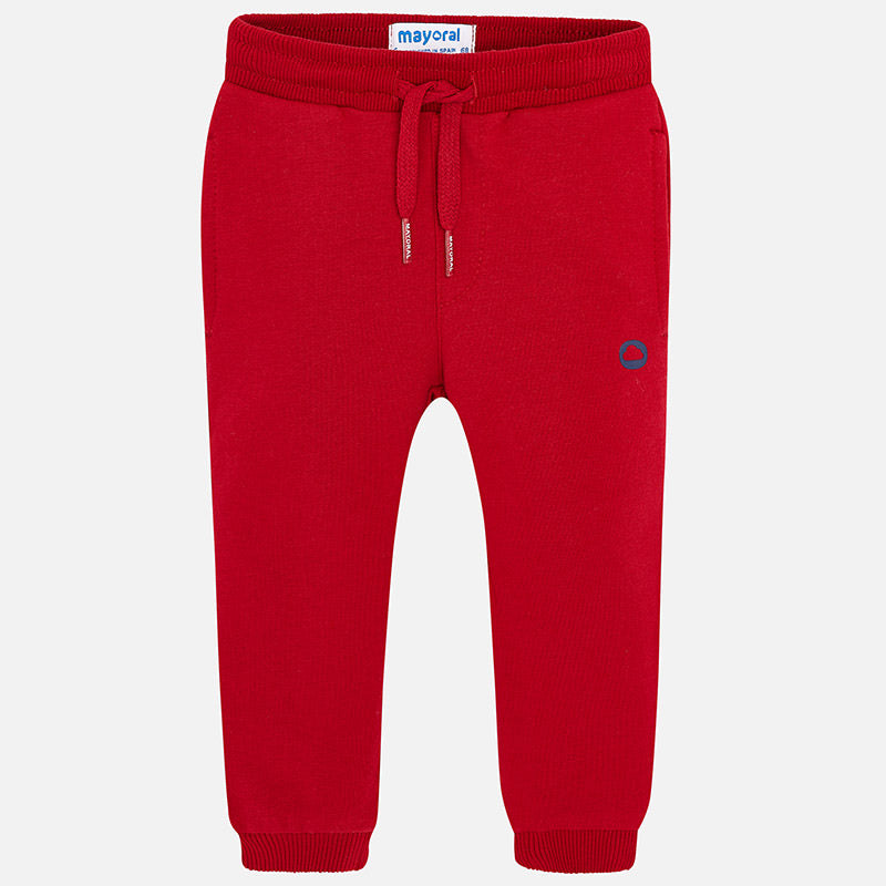 Mayoral Basic Cuffed Fleece Trousers-Red