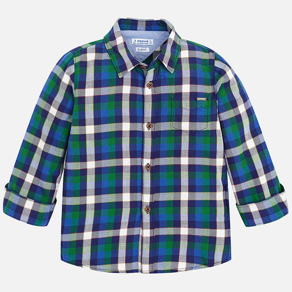 Mayoral Long Sleeve Boys Dill Plaid Shirt