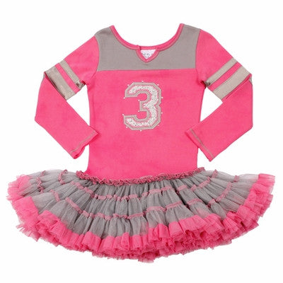 Ooh La La Couture Pink Birthday Varsity Number Dress (sz. 12m & 18 mo last 2)