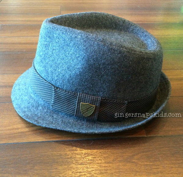 FORE!! Grey Flannel & Houndstooth Fedora (sz XS-XL)