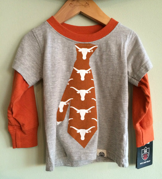 Wes and Willy University of Texas Tie 2 in 1 Tee Shirt (sz. 24M-7)