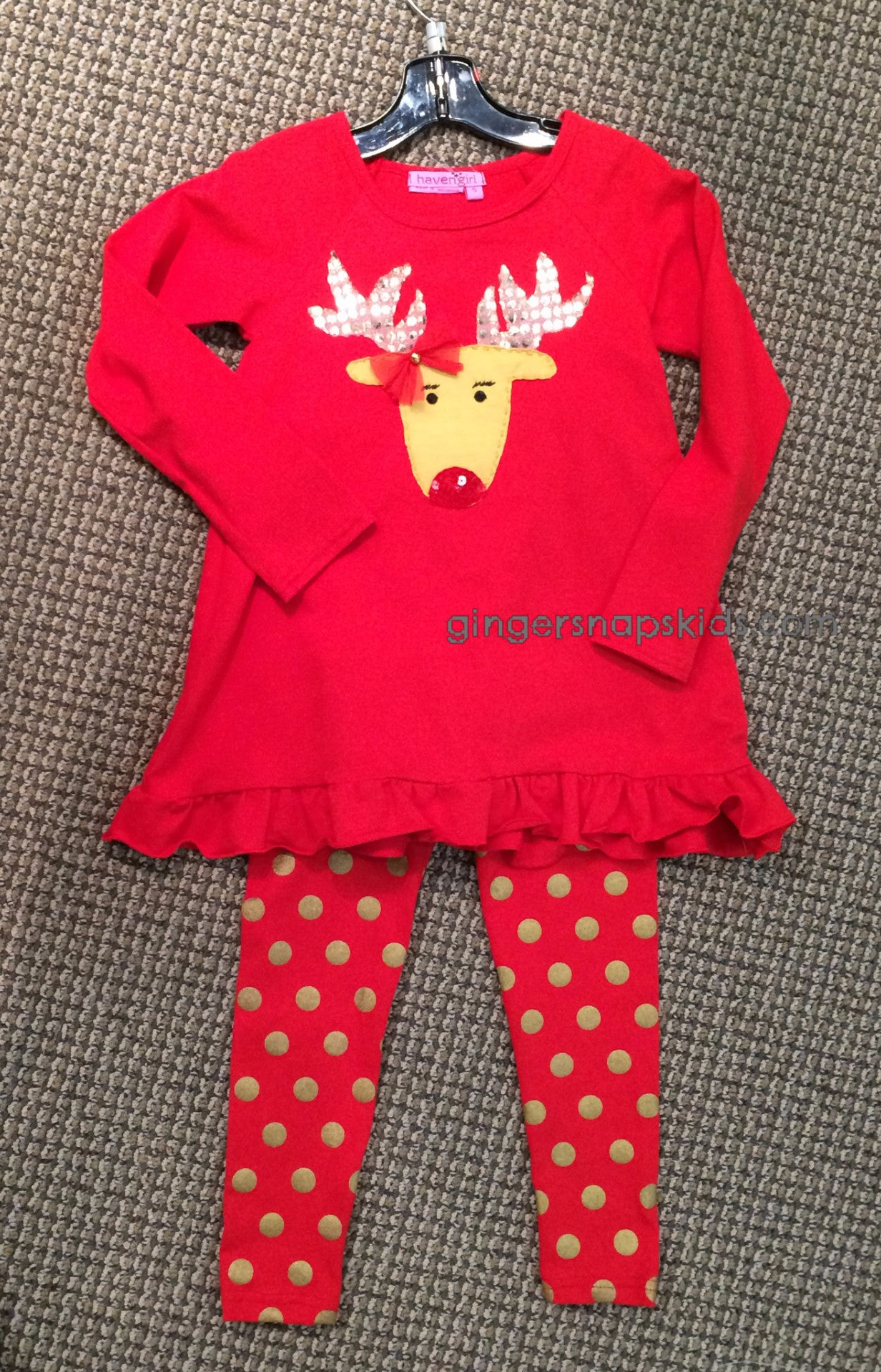 Haven Girl Merry Everything Reindeer Tunic and Gold Dot leggings set (sz 2)