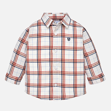 Mayoral Long Sleeve Boys Plaid Shirt