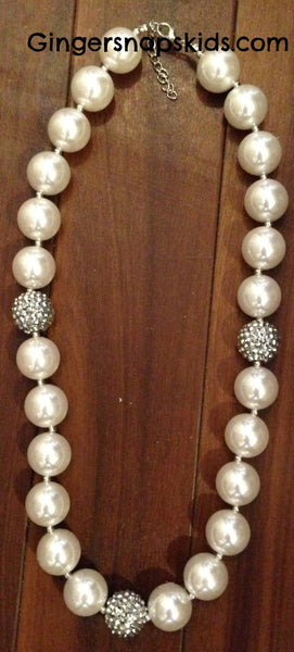 Sparkle Pearl & Silver Chunky Necklace