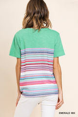 UMGEE Colorful Striped Tie-Front Tunic  |PREORDER|
