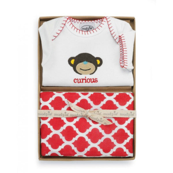 Mud Pie Monkey Crawler & Burp Set (sz 0-6m)