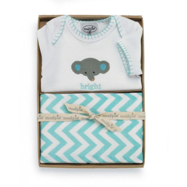 Mud Pie Elephant Crawler & Burp Set (sz 0-6m)