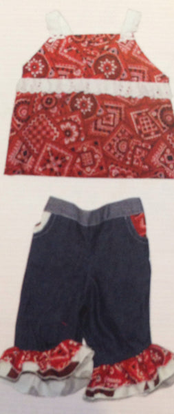 Haute Baby Rodeo Queen Bandana Pants Set (sz 0/3m-4t)