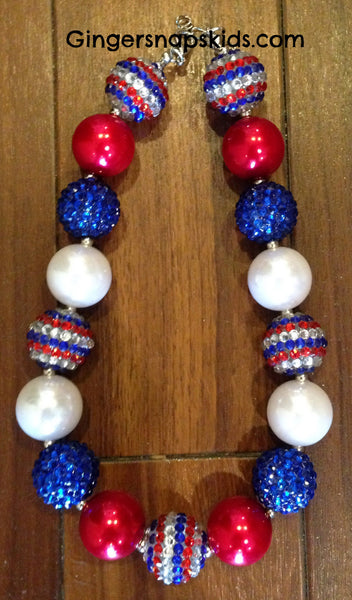 Sparkle Red, White & Blue Chunky Necklace