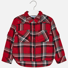 Mayoral Long Sleeve Girls Red Plaid Blouse | FALL PREORDER 2018