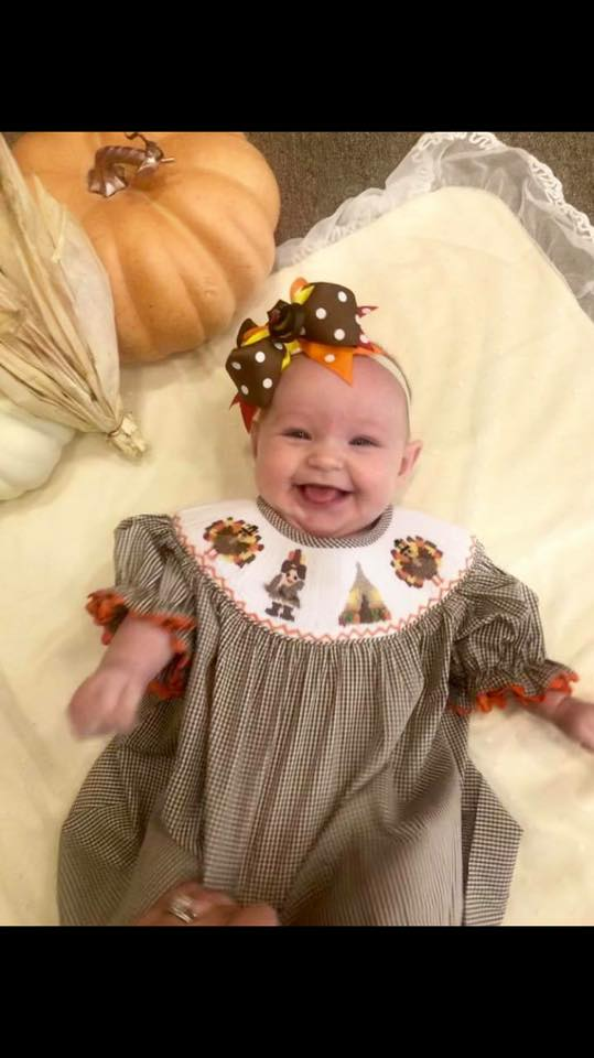 Three Sisters Clothes Give Thanks Smocked Bishop Dress