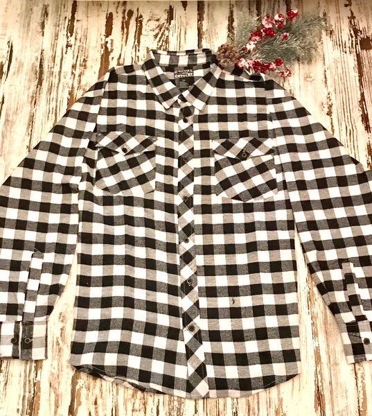 Black & White Flannel Button-down