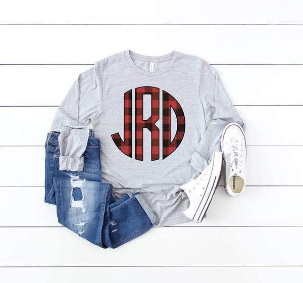Buffalo Plaid Monogram Tees | PREORDER