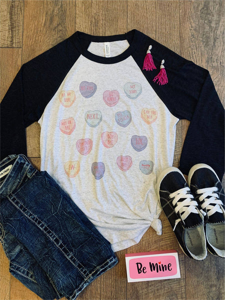 Sassy Sayings Candy Hearts Raglan |PREORDER|