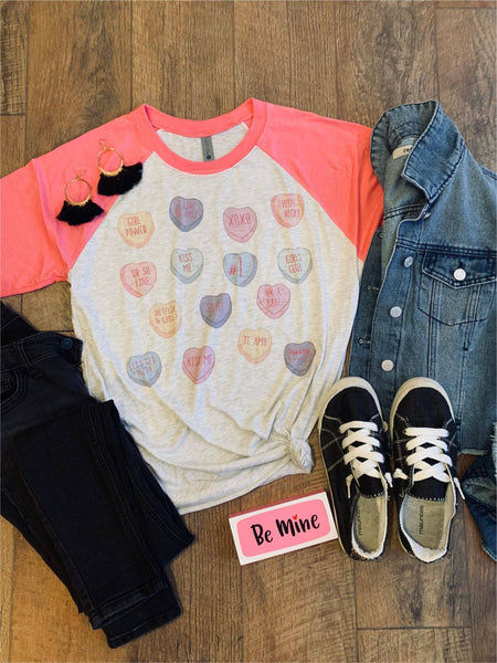 Sweet Sayings Candy Hearts Raglan |PREORDER|
