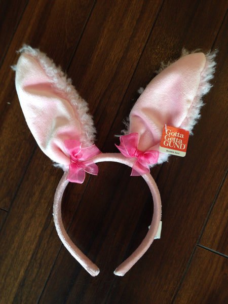 Fuzzy Bunny Ears Headband (Pink, Cream)