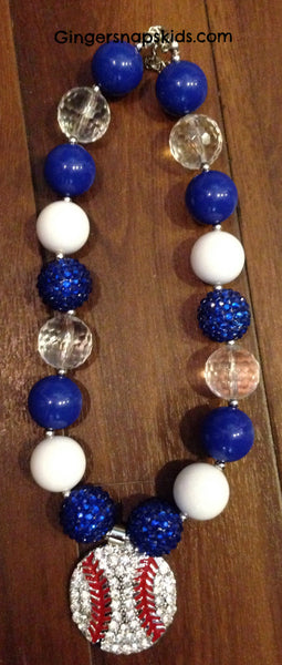 Sparkle Baseball Chunky Necklace