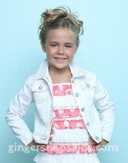 Lipstik Girls Cool in Coral Denim and Sequin White Jacket   (sz 4-14)