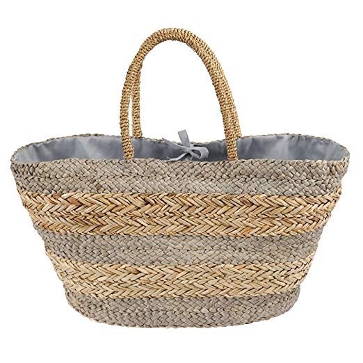 Mud Pie Striped Straw Basket Tote - Grey |PREORDER|