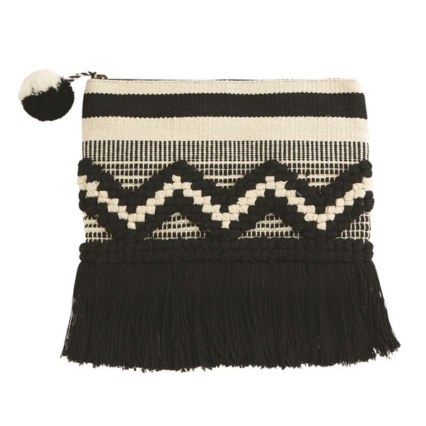 Mud Pie Woven Fringe Clutch - Black |PREORDER|