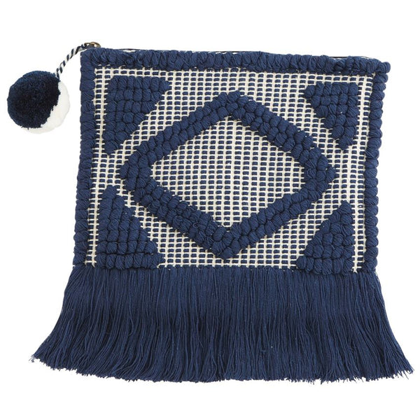 Mud Pie Woven Fringe Clutch - Navy |PREORDER|