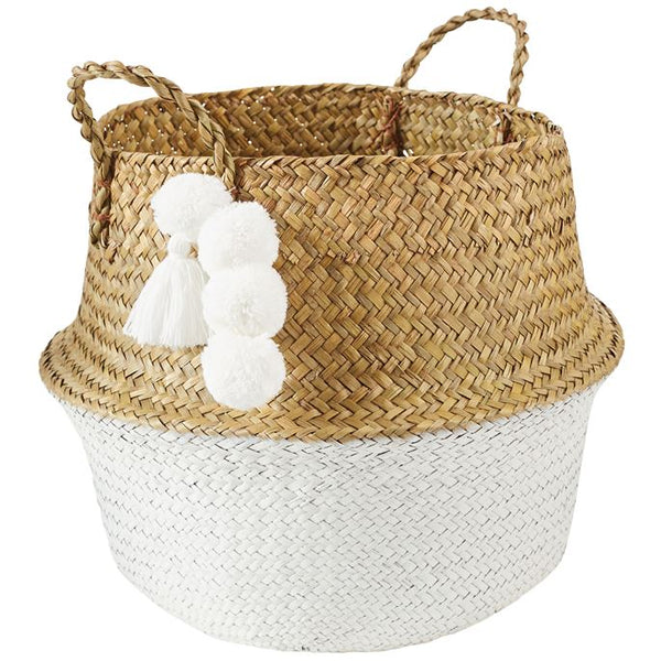 Mud Pie Neutral Collapsible Basket - White |PREORDER|