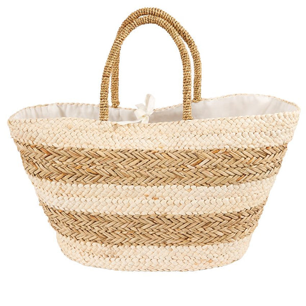 Mud Pie Striped Straw Basket Tote - Tan |PREORDER|