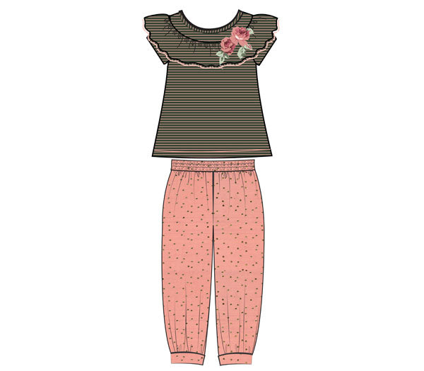 Bonnie Jean Striped/Floral Jogger Pants Set