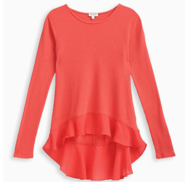 Splendid Orange/Red Thermal and Chiffon Top (sz 7/8-14)
