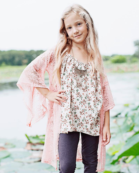 Charity Lace Bell Sleeve Cardigan - Peach