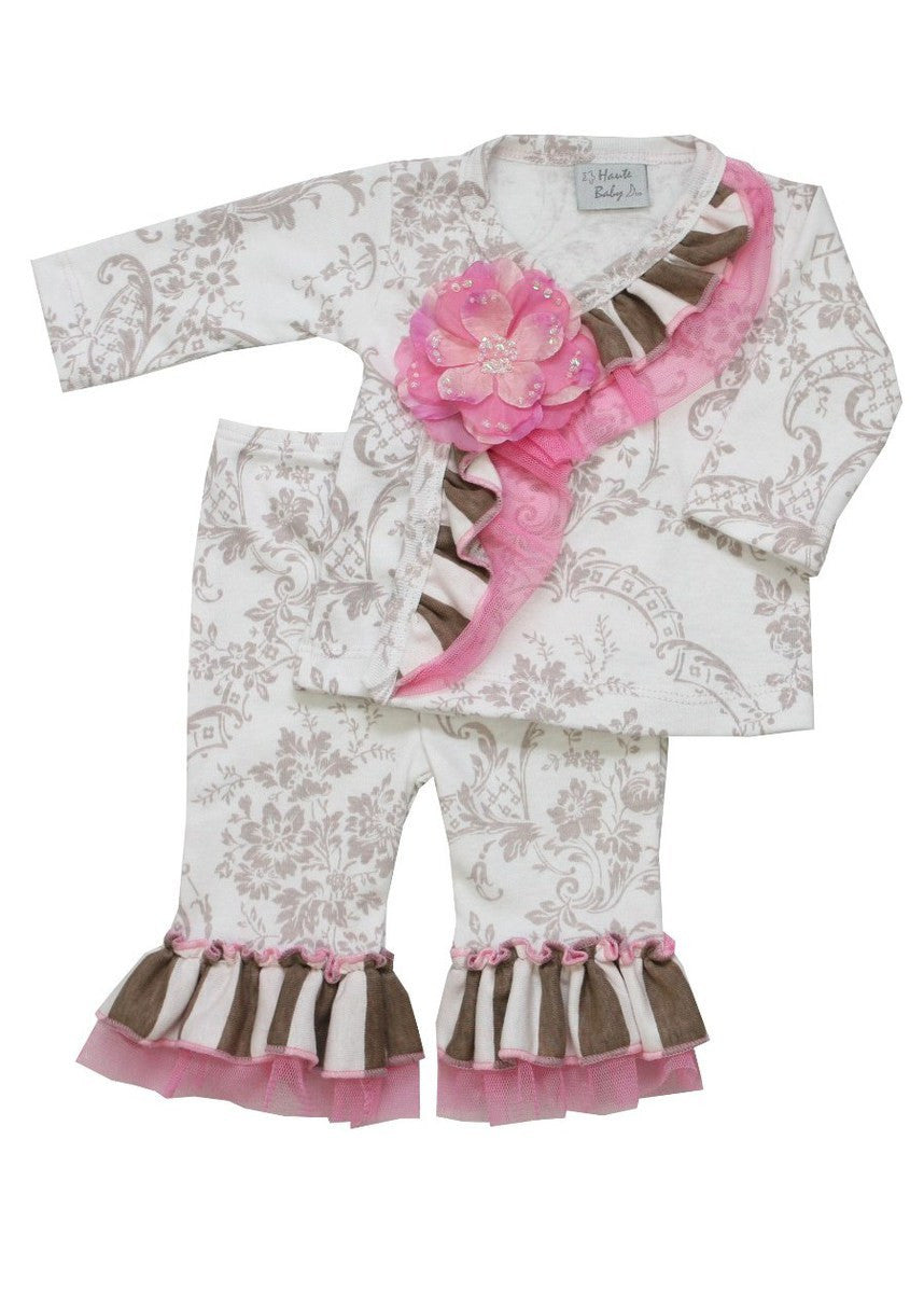 Haute Baby Girls Dream Puff Criss Cross Set Sz 0-9mo