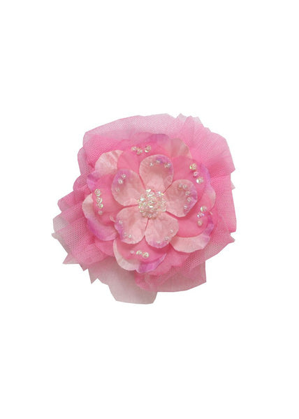 Haute Baby Girls Dream Puff Pink Flower Clippie