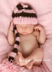 Knit Pink/Brown Stripe Crochet  Hat (sz 0-12mo)