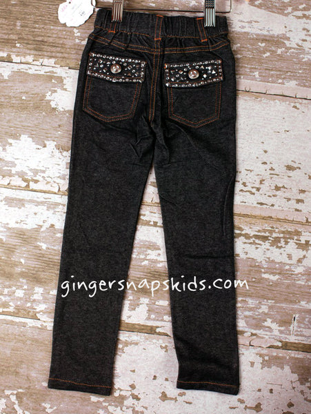 Lipstik Girls Denim Rhinestone Jeggings (sz 5 10 & 12 last 3)