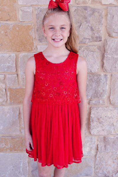 Sequined Rose Popover Dress (sz 7-16)