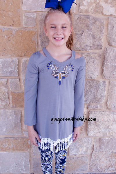 Haven Girl Wyldson Mini Piper Fringe Tunic and Printed Legging Set (sz 7-14)