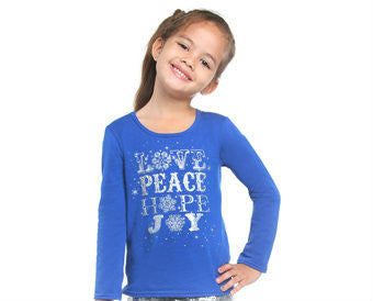 Haven Girl Blue Love Joy Long Sleeve Holiday Tee (4 last 1)