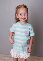 Mint Stripe Anchor Tee (sz 2-16)