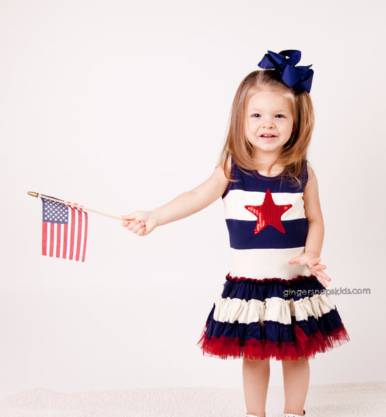 Ooh! La La! Couture Red White Blue 4th Sequin Star Dress (sz  12mo-12)