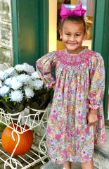 Three Sisters Clothes Daisy Paisley Long Sleeve Smocked Bishop Dress