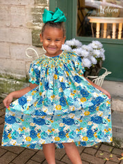 Three Sisters Clothes Flower Burst Smocked Bishop Dress