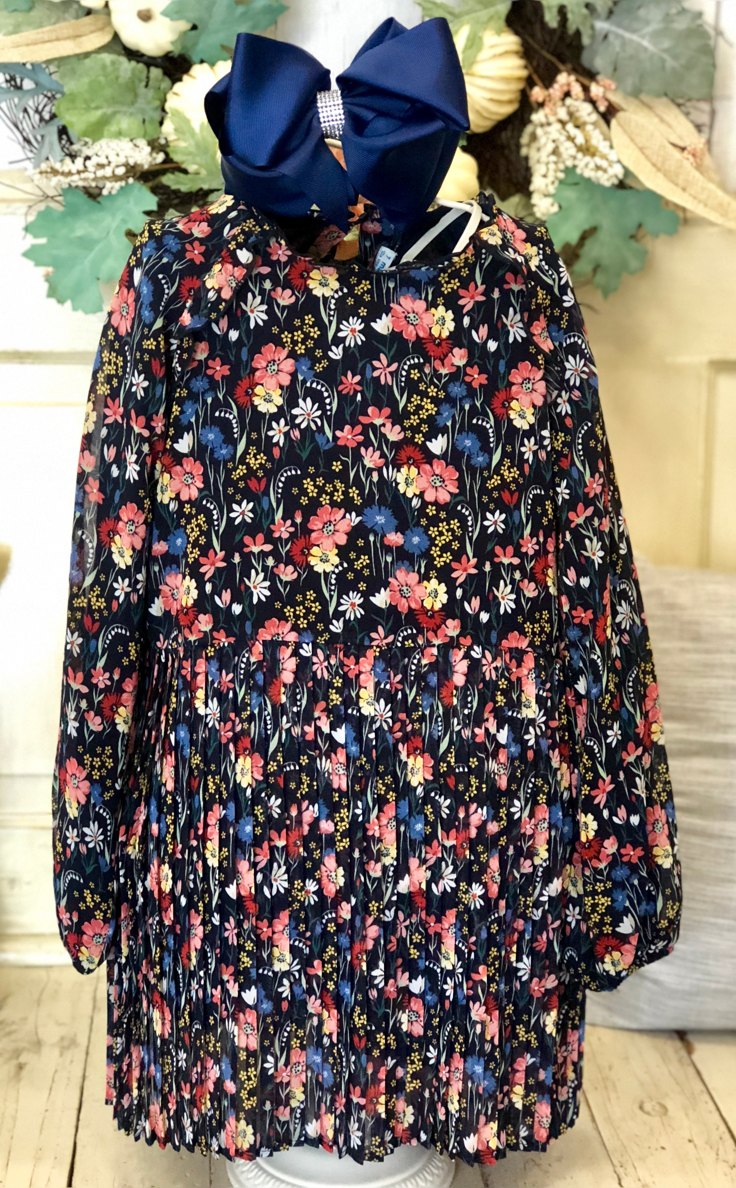 Mayoral Navy Floral Flowy Dress
