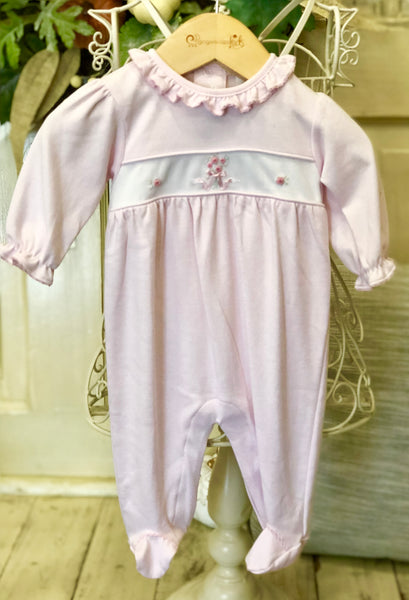 Kissy Kissy Girls Rose Ribbons Footie w/Ruffle (sz NB-0/3m)