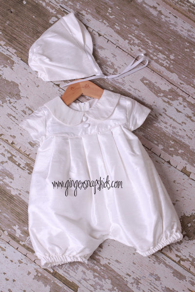 Boy's Ivory 1pc Silk Christening/Baptism Romper & Hat Set sz. XS & S