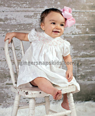 Ivory Silk Smocked Bishop Dress with Pink Flowers (sz 3mo-24mo)